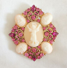 New Pink Crystal Flower Angel Cameo Love Good Fortune Brooch Pin Gift BR1050