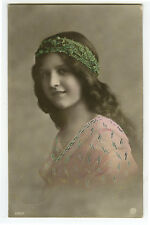 c 1913 Child Children Long Hair PRETTY YOUNG GIRL glamour photo postcard