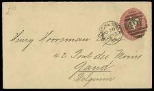 1885 Postal Stationery 2 1/2d. Claret envelope to Belgium. E1560
