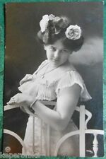 SEXY EDWARDIAN LADY-I SEE YOU-ANTIQUE VINTAGE 1907 GREMAN? RPPC PHOTO POSTCARD