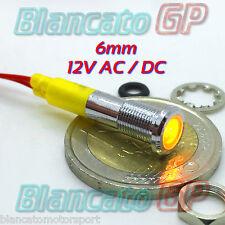 SPIA LED GIALLO 12V DC METALLO FLAT 6mm IP67 auto moto camper nautica segnalator