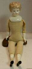 "Antique 13"" Doll Porcelain Head, Hands & Feet Cloth Body Very Good Condition"