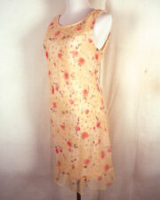 vtg 90s euc City Triangles Sheer Layered Floral Nude Slip Dress Grunge 9/10