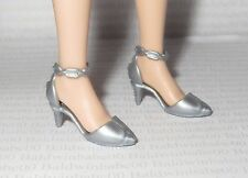 * SHOES ~ MATTEL CURVY POP STAR BARBIE DOLL SILVER LOW ARCH FOOT MARY JANES