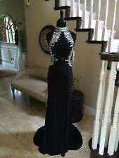 $599 NWT BLACK HIGH NECK JOVANI PROM/PAGEANT/FORMAL DRESS/GOWN #98527 SIZE 6