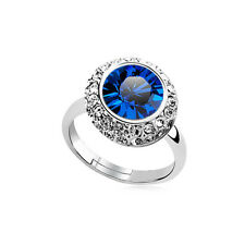 Shiny Crystal Royal Blu Scuro Lucido Cristallo SILVER Circle regolabile ring fr185