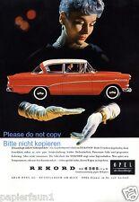 Opel Rekord Reklame von 1957 Werbung Dame Handschuhe Perlenkette ad
