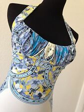 AUTH NWT Roberto Cavalli Gold Label Blue Floral Halter Top (orig $930)
