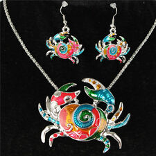 Silver Crab Brachyura Necklace Earrrings Chain Jewelry Sets Party Wedding Gift