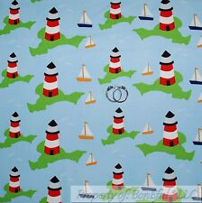 BonEful Fabric FQ Cotton Quilt Blue White Cloud Sailboat Water Island Lighthouse