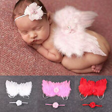 Newborn Baby photography Prop Boy Girl feather angel wings Costume 0-6 mths pink