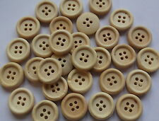 30 x 15mm ROUND LIGHT WOOD BUTTONS-4 HOLE-SEWING, SCRAPBOOKSING, CRAFTS ETC.,