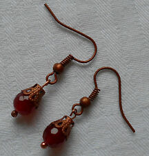 Unique handmade little red ruby earrings copper plated round faceted +stoppers
