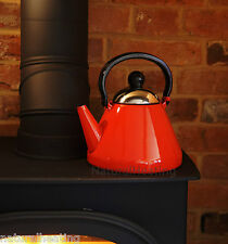 1.9L RED Enamel Stove Kettle Wood Burning Burner Multi Fuel Fire / Aga Rayburn