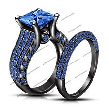 14K Black Rhodium Plated Blue Sapphire Engagement Women's Ring Size 7