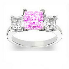 Finest New Real Pink Princess Diamond 18ct White Gold Trilogy Ring SI2 0.9