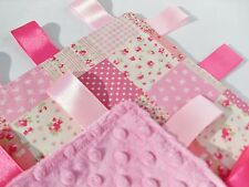 Taggie Girls Patchwork Cotton Handmade Lovey blanket with super soft Minky back
