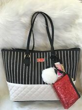 Betsey Johnson bag tote PVC black white Stripe quilted pink wristlet Cat charm