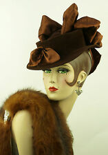 VINTAGE HAT 1930s RARE LILLY DACHE BROWN FELT TILT WITH SATIN RIBBONS & BOWS