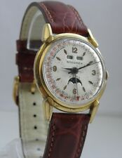 BEAUTIFUL VINTAGE SOCOMEX TRIPLE DATE MOONPHASE WRIST WATCH