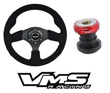 VMS RACING ITALIA SUEDE STEERING WHEEL + QUICK RELEASE HUB FOR HONDA RED