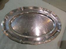 ancien plat ovale metal argenté chantourné