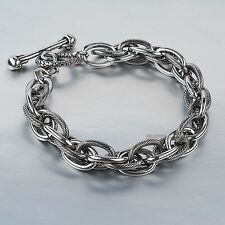 Silver bikies chain stainless steel skull bar bracelet thick heavy solid