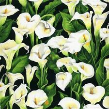 Fat Quarter Open Lilies On Black 100% Cotton Quilting Fabric - Nutex