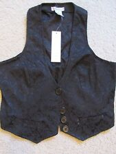 New Women's Pinky Brand Black Floral Embroidered Button-Up Vest Size Medium