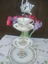 Quirky Vintage Birds of paradise theme mad hatter cake stand