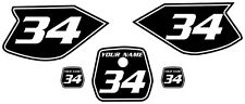 Yamaha TTR90 Custom Pre-Printed Black Backgrounds White Number & Pinstripe