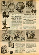 1960 PAPER AD Cartoon O Scope Viewer Magnajector Rand McNally Globe Toy Play