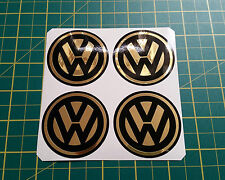 4 x 60mm ALLOY WHEEL STICKERS VW logo Gold Effect on Black centre cap badge
