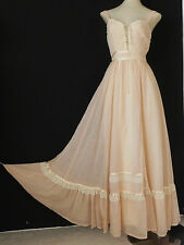 Vtg Gunne Sax By Jessica Romantic Hippie Full Length Dress Light Peach Size XS