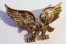 broche bijou vintage aigle finement travaillé en relief couleur or * 2299