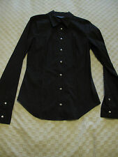 AX ARMANI Exchange fitted smart black pinstripped shirt blouse Size M