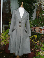 BOHEMIA COAT HERRINGBONE WOOL  MIX M STEAMPUNK LAGENLOOK HIPPY FLARE FROCK COAT