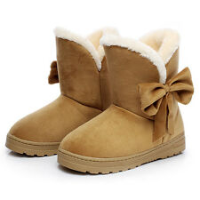 Bowknot Warm Women Flats Shoes Snow Women Boots Autumn Winter Shoes Fashion