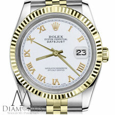 White Roman Numeral Woman's Rolex 26mm Datejust 18K & SS 2Tone Jubilee Watch