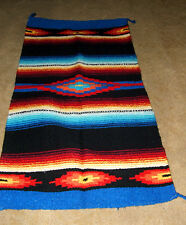 "Saltillo Mexican Throw Rug Tapestry Southwestern  20x40"" Acrylic BLACK"