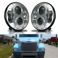 2x 80W 7inch Round Chrome For FREIGHTLINER Century LED Headlight High Low Beam