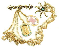 VINTAGE CONVERTIBLE SWEATER PIN SET SWAG CHAINS FAUX TURQUOISE AMETHYST PEARLS