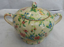 ROYAL WINTON GRIMWADES QUEEN ANNE CHINTZ COVERED SUGAR BOWL VINTAGE NEEDLEPOINT