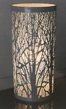 NEW Modern Grey Touch Pad Cylinder Table Side Lamp Tree Silhouette 27cm