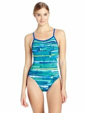 SPEEDO COLOR STROKE FLYBACK POWERFLEX SWIMSUIT ONE PIECE BLUE SIZE 40 NEW $76