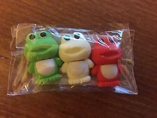 Pack of 3 Frog Themed Erasers / Rubbers - New