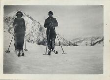 PHOTO ANCIENNE - VINTAGE SNAPSHOT - SPORT SKI COUPLE MONTAGNE - MOUNTAIN SKIING