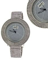 BLING MASTER SILVER TONE PAVE BAND+CRYSTAL BEZEL,HUGE OVERSIZE 60mm DIAL WATCH