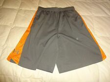 Mens Under Armour Athletic Shorts, loose, gray/orange, size Small