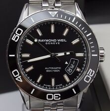 Raymond Weil Freelancer Mens 42mm Automatic Steel Divers Watch w Date 2760 w Box